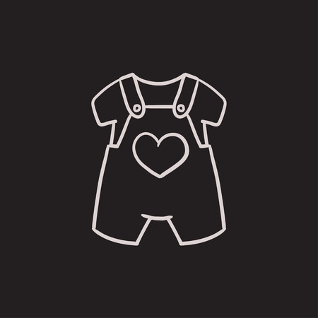 overalls: Baby overalls and shirt vector sketch icon isolated on background. Hand drawn Baby overalls and shirt icon. Baby overalls and shirt sketch icon for infographic, website or app.