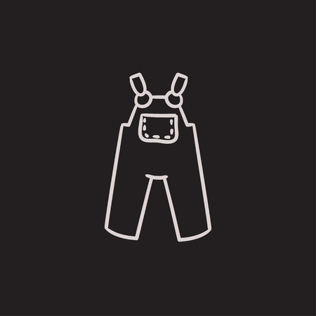 overalls: Baby overalls vector sketch icon isolated on background. Hand drawn Baby overalls icon. Baby overalls sketch icon for infographic, website or app. Illustration