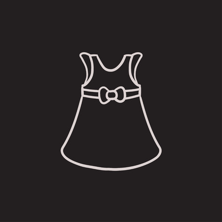 Baby dress vector sketch icon isolated on background. Hand drawn Baby dress icon. Baby dress sketch icon for infographic, website or app. 向量圖像