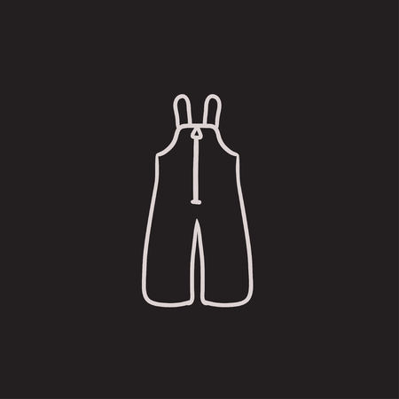 overalls: Baby winter overalls vector sketch icon isolated on background. Hand drawn Baby winter overalls icon. Baby winter overalls sketch icon for infographic, website or app. Illustration