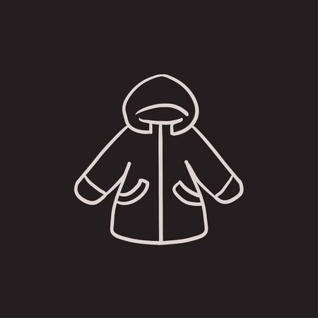 winter jacket: Winter jacket vector sketch icon isolated on background. Hand drawn Winter jacket icon. Winter jacket sketch icon for infographic, website or app.