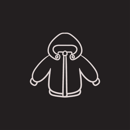 padded: Winter jacket vector sketch icon isolated on background. Hand drawn Winter jacket icon. Winter jacket sketch icon for infographic, website or app.
