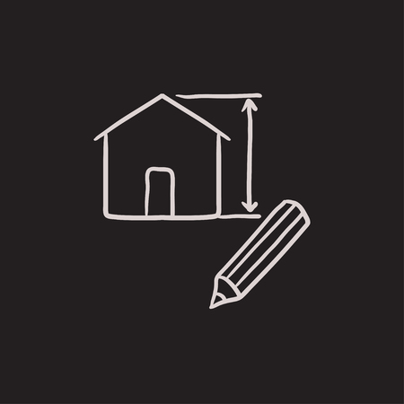 House vector sketch icon isolated on background. Hand drawn House icon. House sketch icon for infographic, website or app.
