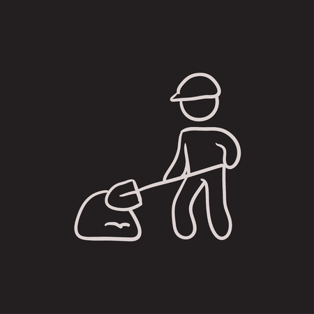 digging: Man with shovel and hill of sand vector sketch icon isolated on background. Hand drawn Man with shovel and hill of sand icon. Man with shovel sketch icon for infographic, website or app.