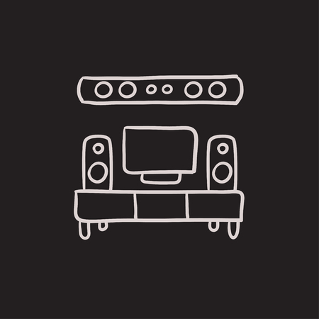 home theater: TV flat screen and home theater vector sketch icon isolated on background. Hand drawn TV flat screen and home theater icon. TV flat screen and home theater sketch icon for infographic, website or app.
