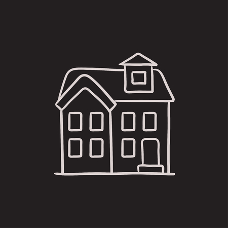 two storey house: Two storey detached house vector sketch icon isolated on background. Hand drawn Two storey detached house icon. Two storey detached house sketch icon for infographic, website or app. Illustration