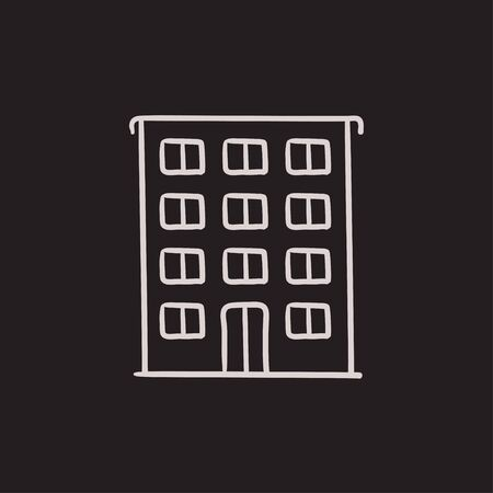 Residential building vector sketch icon isolated on background. Hand drawn Residential building icon. Residential building sketch icon for infographic, website or app.  イラスト・ベクター素材