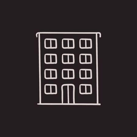 Residential building vector sketch icon isolated on background. Hand drawn Residential building icon. Residential building sketch icon for infographic, website or app. Illustration