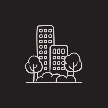 housing project: Residential building with trees vector sketch icon isolated on background. Hand drawn Residential building with trees icon. Residential building with trees sketch icon for infographic, website or app.