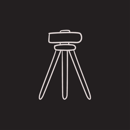 teodolito: Teodolito en el trípode dibujo icono del vector aislado en el fondo. Dibujado a mano en el icono del teodolito trípode. Teodolito en el trípode dibujo icono de infografía, sitio web o aplicación.