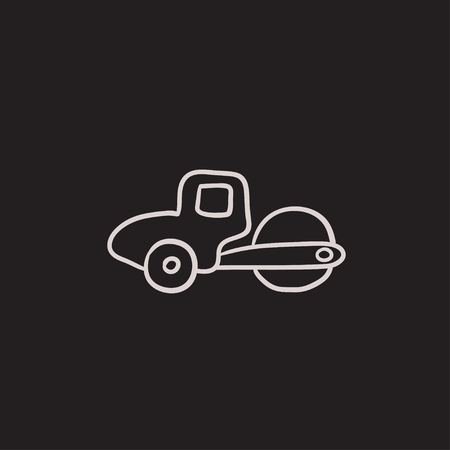rollover: Road roller vector sketch icon isolated on background. Hand drawn Road roller icon. Road roller sketch icon for infographic, website or app. Illustration
