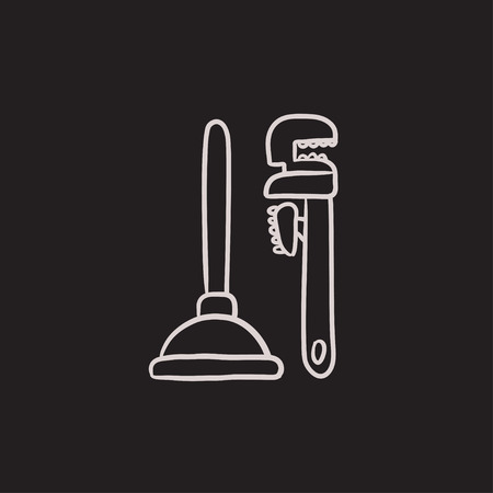 Pipe wrenches and plunger vector sketch icon isolated on background. Hand drawn Pipe wrenches and plunger icon. Pipe wrenches and plunger sketch icon for infographic, website or app. Ilustrace