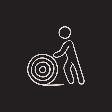 Man with wire spool vector sketch icon isolated on background. Hand drawn Man with wire spool icon. Man with wire spool sketch icon for infographic, website or app.