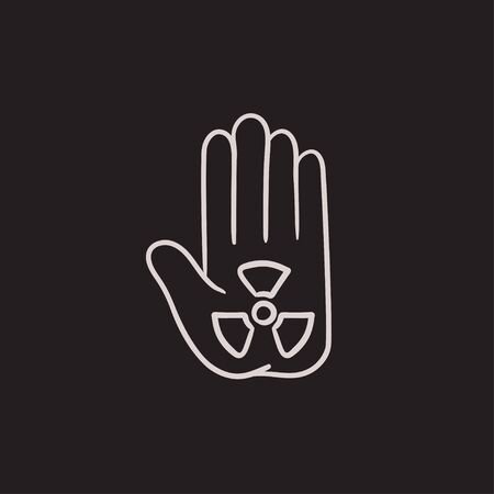 ionizing: Ionizing radiation sign on palm vector sketch icon isolated on background. Hand drawn Ionizing radiation sign on palm icon. Ionizing radiation sign on palm sketch icon for infographic, website or app.