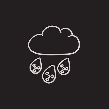 放射性雲と雨ベクター スケッチ アイコンの背景に分離されました。手描き下ろし放射性雲と雨のアイコン。放射性雲と雨は、インフォ グラフィッ