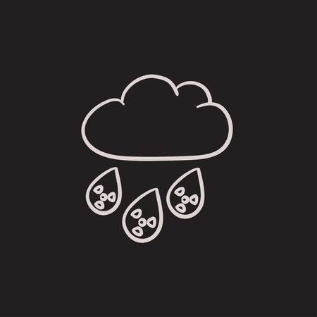 Radioactive cloud and rain vector sketch icon isolated on background. Hand drawn Radioactive cloud and rain icon. Radioactive cloud and rain sketch icon for infographic, website or app. Çizim