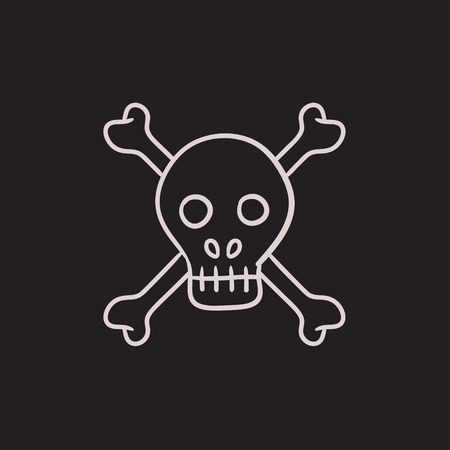 lethal: Skull and cross bones vector sketch icon isolated on background. Hand drawn Skull and cross bones icon. Skull and cross bones sketch icon for infographic, website or app.
