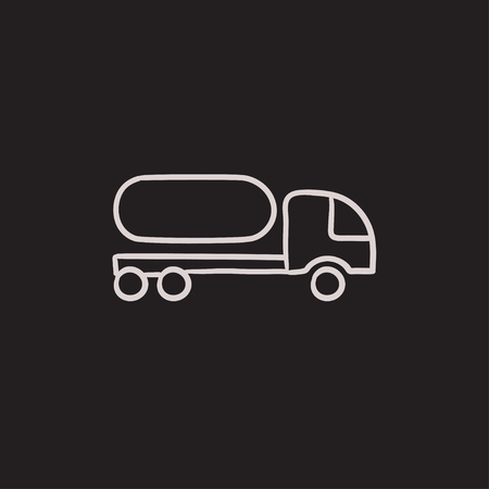 fuel truck: Fuel truck vector sketch icon isolated on background. Hand drawn Fuel truck icon. Fuel truck sketch icon for infographic, website or app.