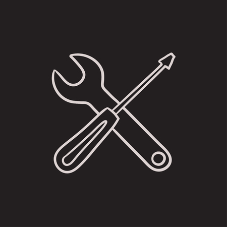 Screwdriver and wrench tools vector sketch icon isolated on background. Hand drawn Screwdriver and wrench tools icon. Screwdriver and wrench tools sketch icon for infographic, website or app.