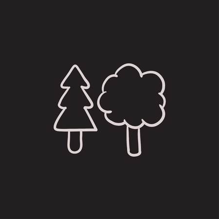 Trees vector sketch icon isolated on background. Hand drawn Trees icon. Trees sketch icon for infographic, website or app. Ilustracja
