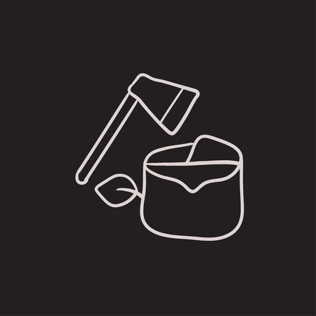 logging: Deforestation vector sketch icon isolated on background. Hand drawn Deforestation icon. Deforestation sketch icon for infographic, website or app.