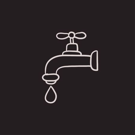 Faucet with water drop vector sketch icon isolated on background. Hand drawn Faucet with water drop icon. Faucet with water drop sketch icon for infographic, website or app. 일러스트