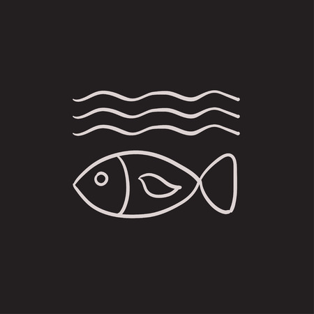 deterioration: Fish under water vector sketch icon isolated on background. Hand drawn Fish under water icon. Fish under water sketch icon for infographic, website or app.