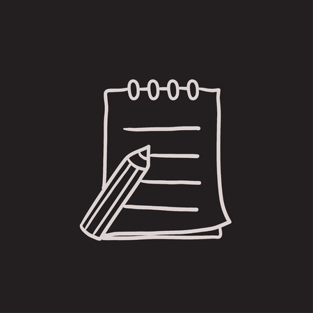 spiral notebook: Writing pad and pen vector sketch icon isolated on background. Hand drawn Writing pad and pen icon. Writing pad and pen sketch icon for infographic, website or app.