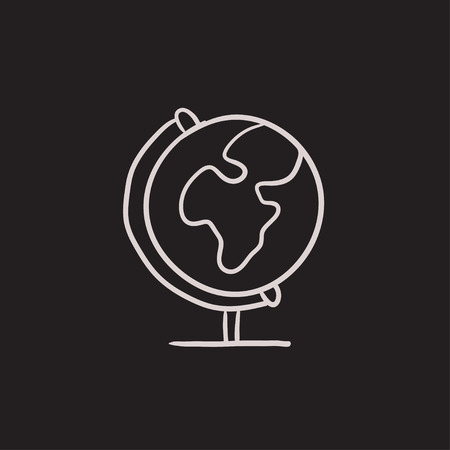 hand stand: World globe on stand vector sketch icon isolated on background. Hand drawn World globe on stand icon. World globe on stand sketch icon for infographic, website or app. Illustration