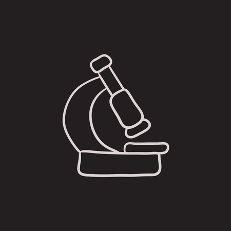 Microscope vector sketch icon isolated on background. Hand drawn Microscope icon. Microscope sketch icon for infographic, website or app.