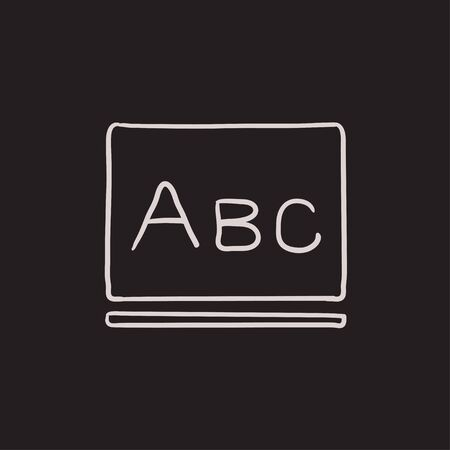 Letters abc on blackboard vector sketch icon isolated on background. Hand drawn Letters abc on blackboard icon. Letters abc on blackboard sketch icon for infographic, website or app. Illustration