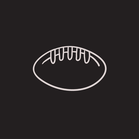 gridiron: Rugby football ball vector sketch icon isolated on background. Hand drawn Rugby football ball icon. Rugby football ball sketch icon for infographic, website or app.