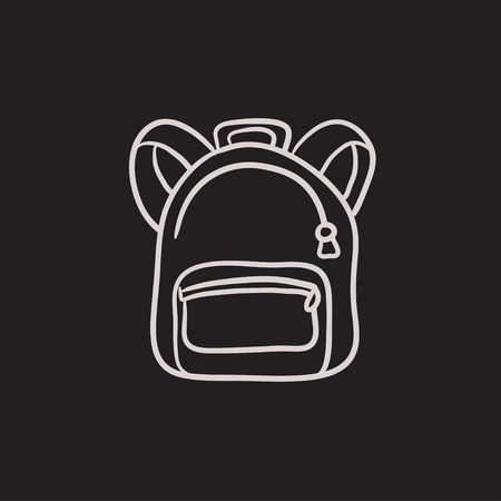 Backpack vector sketch icon isolated on background. Hand drawn Backpack icon. Backpack sketch icon for infographic, website or app. Ilustração