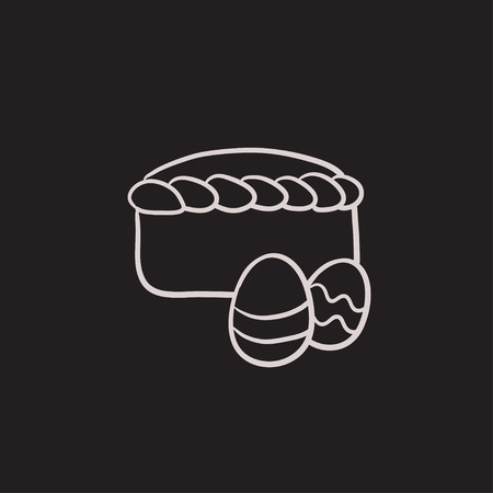 Easter cake with eggs vector sketch icon isolated on background. Hand drawn Easter cake with eggs icon. Easter cake with eggs sketch icon for infographic, website or app. Ilustração