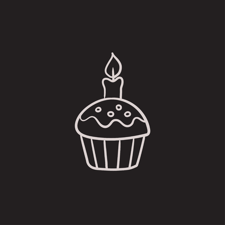 easter candle: Easter cupcake with candle vector sketch icon isolated on background. Hand drawn Easter cupcake with candle icon. Easter cupcake with candle sketch icon for infographic, website or app.