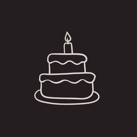 easter candle: Easter cake with candle vector sketch icon isolated on background. Hand drawn Easter cake with candle icon. Easter cake with candle sketch icon for infographic, website or app.