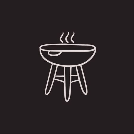 barbecue stove: Kettle barbecue grill vector sketch icon isolated on background. Hand drawn Kettle barbecue grill icon. Kettle barbecue grill sketch icon for infographic, website or app. Illustration