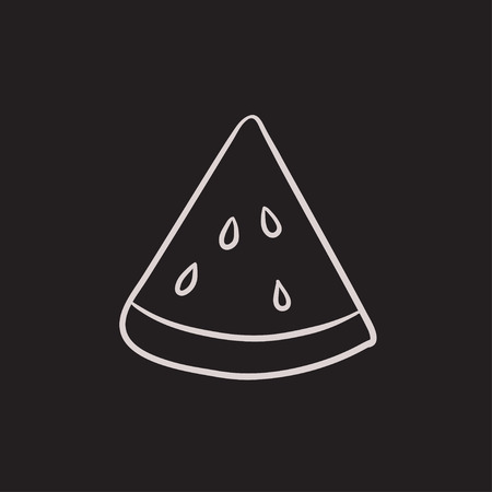 Watermelon vector sketch icon isolated on background. Hand drawn Watermelon icon. Watermelon sketch icon for infographic, website or app. Stock Vector - 63308389