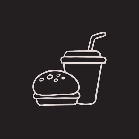 junky: Fast food meal vector sketch icon isolated on background. Hand drawn Fast food meal icon. Fast food meal sketch icon for infographic, website or app. Illustration