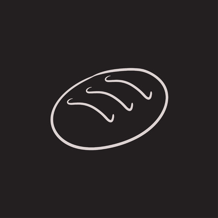 パン ベクター スケッチ アイコンを背景に分離します。手描きパン アイコン。インフォ グラフィック、web サイトまたはアプリケーションのパン ス  イラスト・ベクター素材