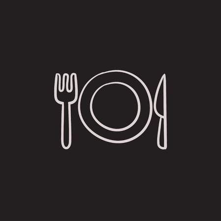 meat chopper: Plate with cutlery vector sketch icon isolated on background. Hand drawn Plate with cutlery icon. Plate with cutlery sketch icon for infographic, website or app.