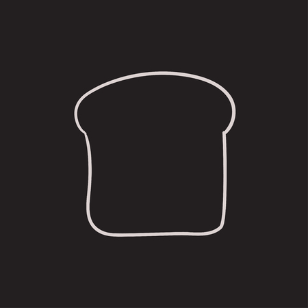 wholemeal: Single slice of bread vector sketch icon isolated on background. Hand drawn Single slice of bread icon. Single slice of bread sketch icon for infographic, website or app. Illustration