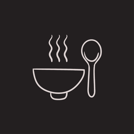 soup bowl: Bowl of hot soup with spoon vector sketch icon isolated on background. Hand drawn Bowl of hot soup with spoon icon. Bowl of hot soup with spoon sketch icon for infographic, website or app. Illustration