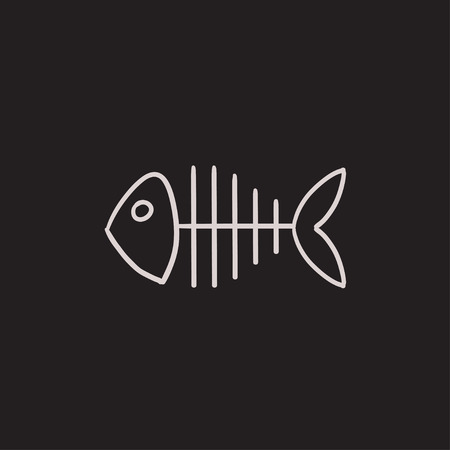 illustration of black fishbone: Fish skeleton vector sketch icon isolated on background. Hand drawn Fish skeleton icon. Fish skeleton sketch icon for infographic, website or app.