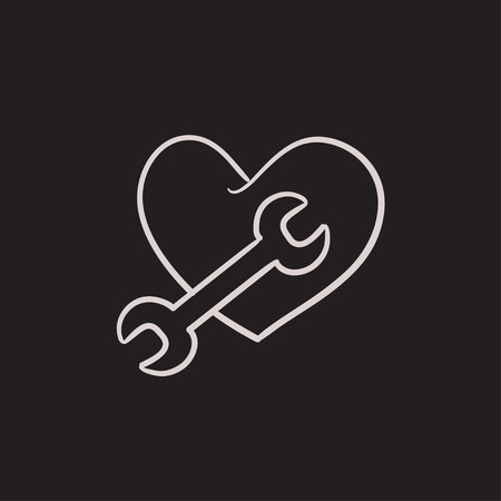 Heart with wrench vector sketch icon isolated on background. Hand drawn Heart with wrench icon. Heart with wrench sketch icon for infographic, website or app. Çizim
