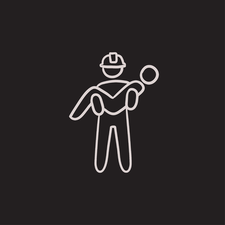 Fireman holding person on hands vector sketch icon isolated on background. Hand drawn Fireman holding person on hands icon. Fireman holding person on hands sketch icon for infographic, website or app.