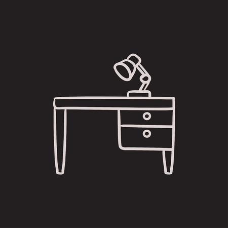 Desk lamp on table vector sketch icon isolated on background. Hand drawn Desk lamp on table icon. Desk lamp on table sketch icon for infographic, website or app. Illustration