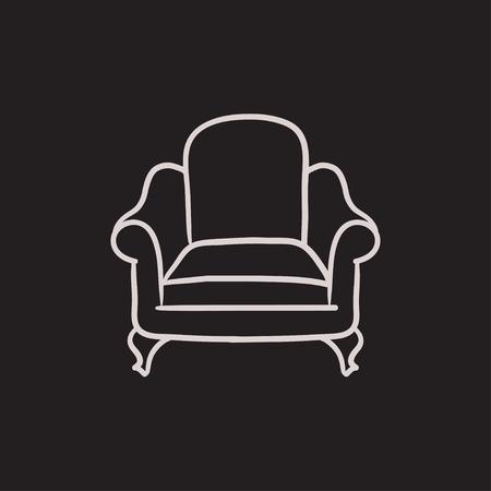 Fotel ikona wektor szkic samodzielnie na tle. Ręcznie rysowane ikony fotel. Fotel ikona szkic infografika, strony internetowej lub aplikacji. Ilustracje wektorowe