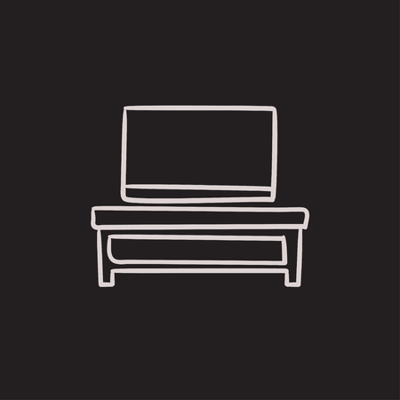 hand stand: Flat screen tv on modern tv stand vector sketch icon isolated on background. Hand drawn Flat screen tv on tv stand icon. Flat screen tv on modern tv stand sketch icon for infographic, website or app.