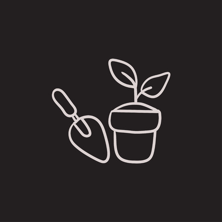 hand trowel: Garden trowel and pot with plant vector sketch icon isolated on background. Hand drawn Garden trowel and pot with plant icon. Trowel and pot with plant sketch icon for infographic, website or app.
